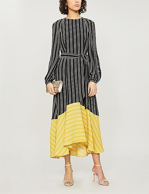 KAREN MILLEN Contrast-hem striped crepe maxi dress