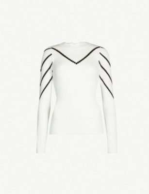 KAREN MILLEN Pointelle-chevron knitted jumper