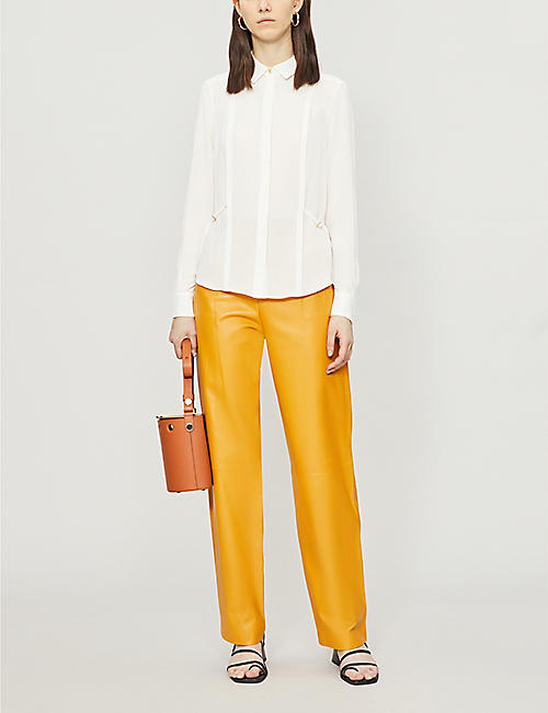 KAREN MILLEN Pleated side-tie crepe shirt