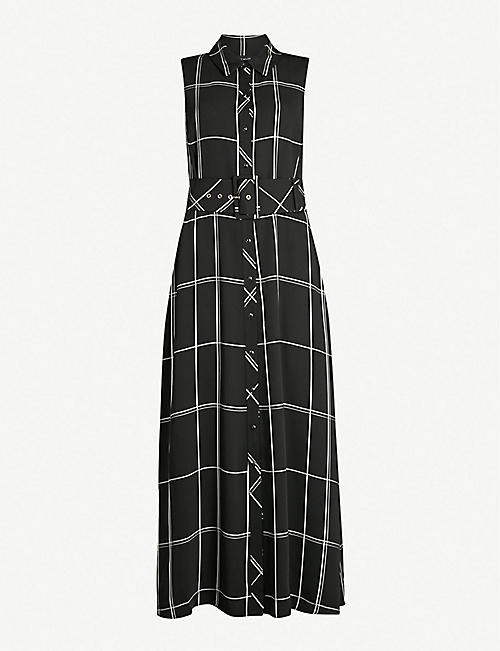 fbafbe12445 KAREN MILLEN Check-print satin midi dress