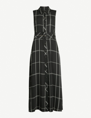 KAREN MILLEN Check-print satin midi dress