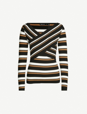 Karen Millen Knits Striped stretch-knit sweater