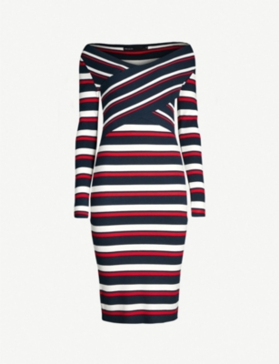 KAREN MILLEN Striped stretch-knit dress