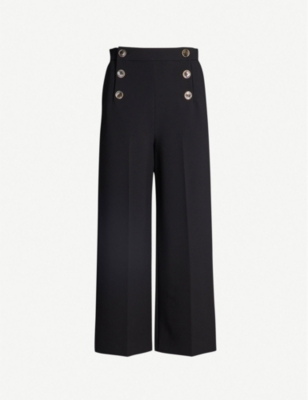 KAREN MILLEN Wide-leg high-rise cropped trousers