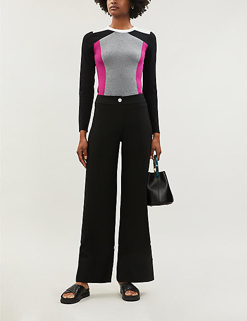 KAREN MILLEN Contrast-panel stretch-knit top