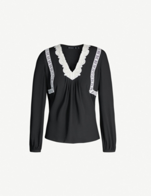 KAREN MILLEN V-neck lace-panel crepe blouse