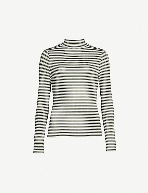 41bf0f2f3fb3b KAREN MILLEN Striped roll neck knitted top