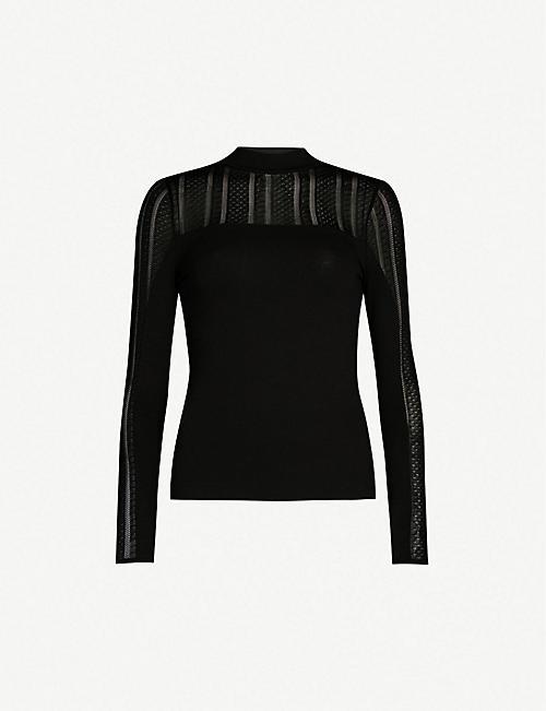 6f1e2db5fdc5 KAREN MILLEN Lace insert knitted top