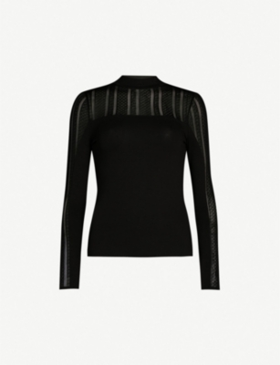 KAREN MILLEN Lace insert knitted top