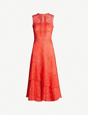 KAREN MILLEN Sleeveless floral lace midi dress