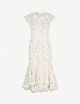 KAREN MILLEN Flared-hem floral lace dress
