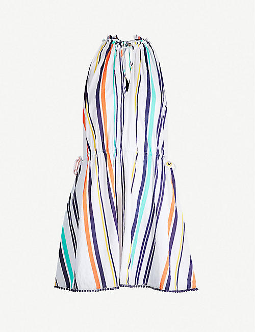 KAREN MILLEN Santa Marina multi-colour striped flared cotton and rayon-blend dress