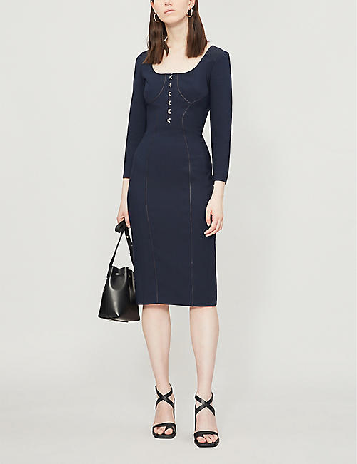 KAREN MILLEN Panelled stretch-jersey pencil dress