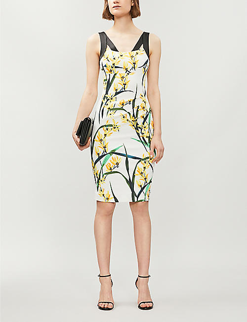 KAREN MILLEN Floral-print bodycon stretch-crepe dress
