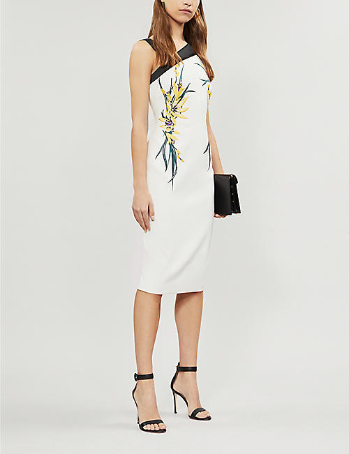 2c9a229c090 KAREN MILLEN Embroidered flower stretch-crepe midi dress