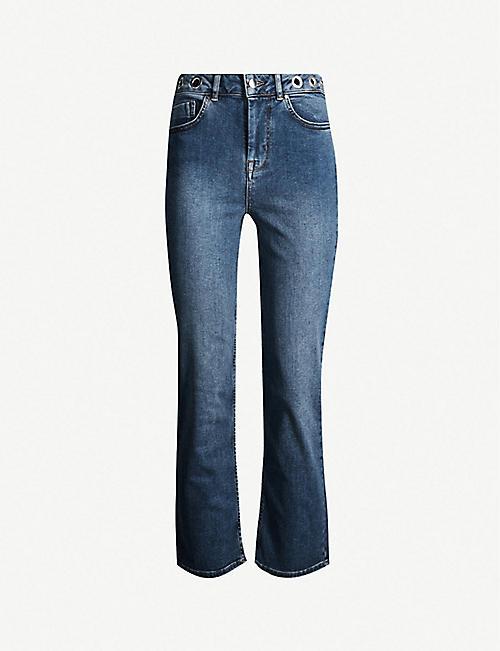 c849a4667cd KAREN MILLEN Eyelet-waist straight mid-rise jeans