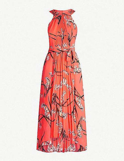 a89e439cb9cb KAREN MILLEN Floral-print halterneck chiffon dress