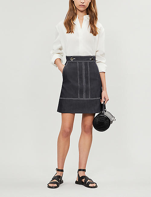 KAREN MILLEN High-waist denim mini skirt