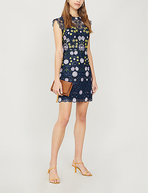 KAREN MILLEN Garden Party floral-embroidered lace mini dress