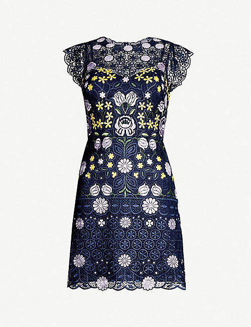 619eba91d8 KAREN MILLEN Garden Party floral-embroidered lace mini dress