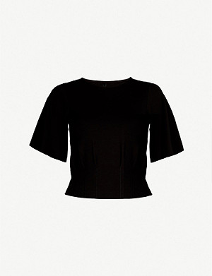 KAREN MILLEN Round-neck wide-sleeved stretch-jersey T-shirt