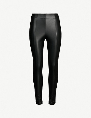 KAREN MILLEN Cropped faux-leather and stretch-jersey leggings