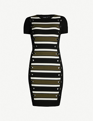 KAREN MILLEN Eyelet-trim striped knit dress