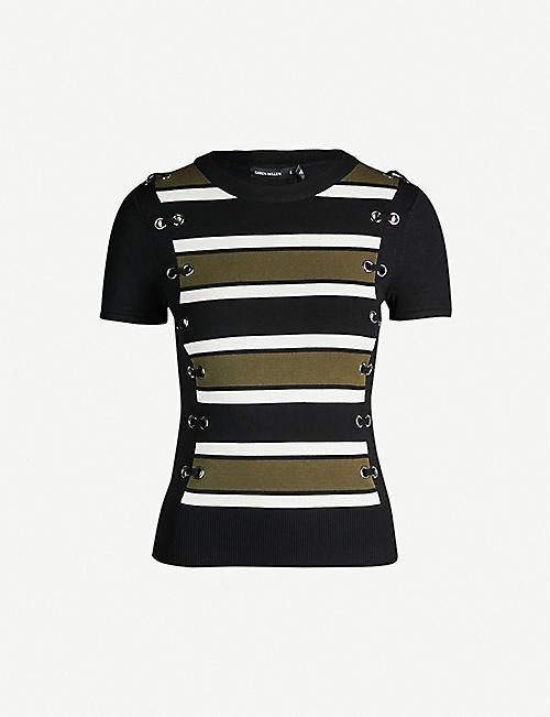 1a6531669 KAREN MILLEN Eyelet-trim striped knit T-shirt