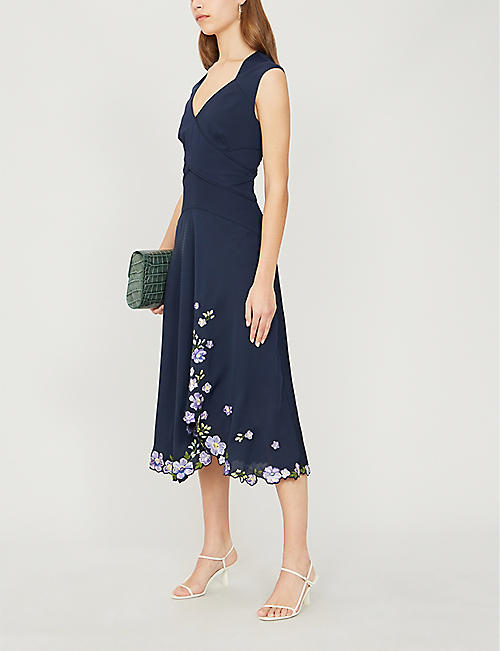 KAREN MILLEN Floral-embroidered woven midi dress