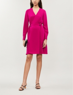 V Neck Pleated Crepe Dress by Karen Millen