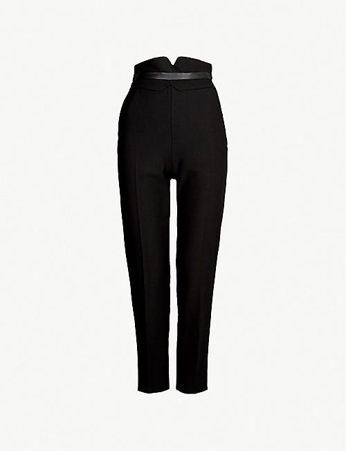 f0ddb83a3703 KAREN MILLEN Straight cropped wool-blend trousers