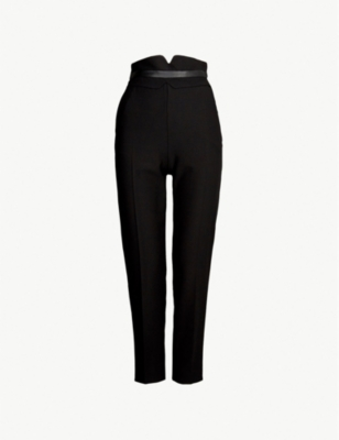 KAREN MILLEN Straight cropped wool-blend trousers