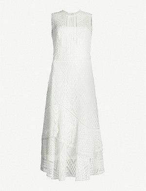 KAREN MILLEN Sleeveless sheer floral-lace midi dress