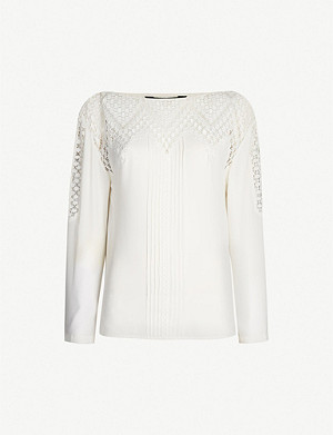 KAREN MILLEN Pleated boat-neck crepe and lace top