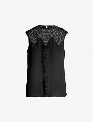 KAREN MILLEN Sleeveless crepe lace top