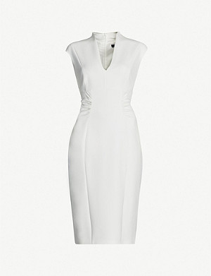 3ec7a5d36bd KAREN MILLEN - Puffed-shoulder belted crepe dress | Selfridges.com
