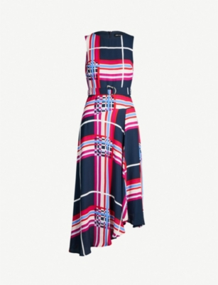KAREN MILLEN Graphic-check crepe dress