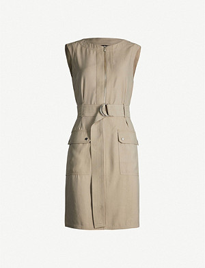 KAREN MILLEN Round-neck belted crepe mini shift dress