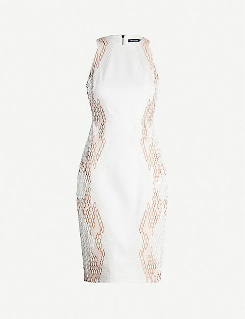 2967e510a6 KAREN MILLEN Round-neck snake-embroidered crepe midi dress