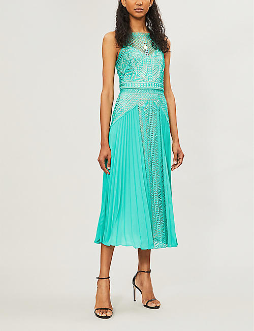 ea81affbe1 KAREN MILLEN Arabesque stretch-lace and crepe dress