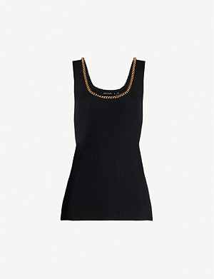 KAREN MILLEN Chain-embellished stretch-jersey top