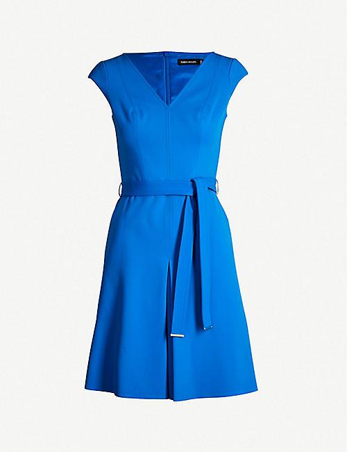 47bdf715c379aa KAREN MILLEN Waist-tie fit-and-flare crepe dress