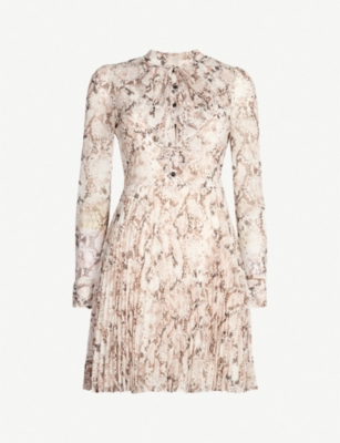 KAREN MILLEN Snake-print high-neck crepe dress