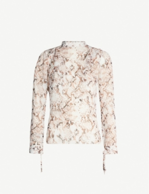 KAREN MILLEN Snake-print high-neck chiffon top