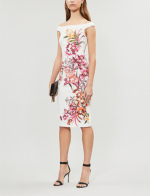 cb58fb62f7 KAREN MILLEN Orchid-print off-the-shoulder pencil dress