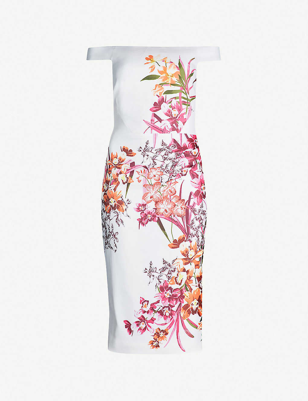 6c14dc6fbf23 Orchid-print off-the-shoulder pencil dress - Multicoloured ...