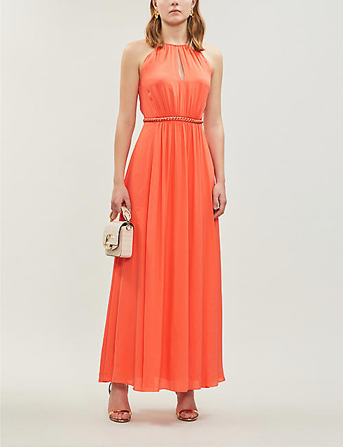 89e983f54c5 KAREN MILLEN Round-neck sleeveless crepe maxi dress