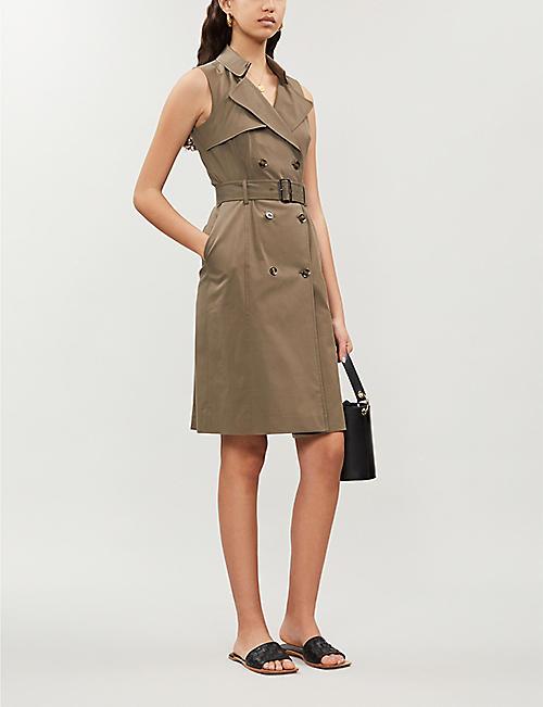 8287777349 KAREN MILLEN Sleeveless trench stretch-cotton midi dress