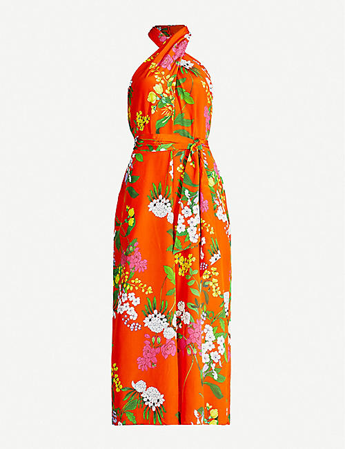 7d50eab60 KAREN MILLEN Botanical-print halter neck silk jumpsuit