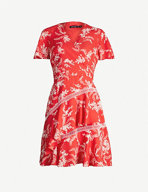 KAREN MILLEN Tiered hem crepe de chine mini dress